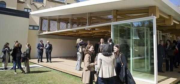 Official opening of IE's paper pavilion designed by Shigeru Ban